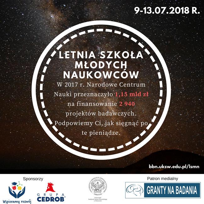 Letnia Szkoła Młodych Naukowców - plakat reklamujący