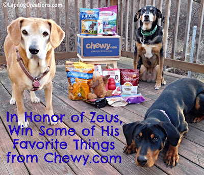 Enter to WIN Some of Zeus' Favorite #dogtreats & #dogtoys from #Chewy In Honor of His Love of Life! #doggiveaway #LapdogCreations ©LapdogCreations