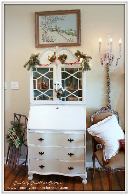 Farmhouse Style Christmas-Vintage Secretary-Vintage Sled- From My Front Porch To Yours
