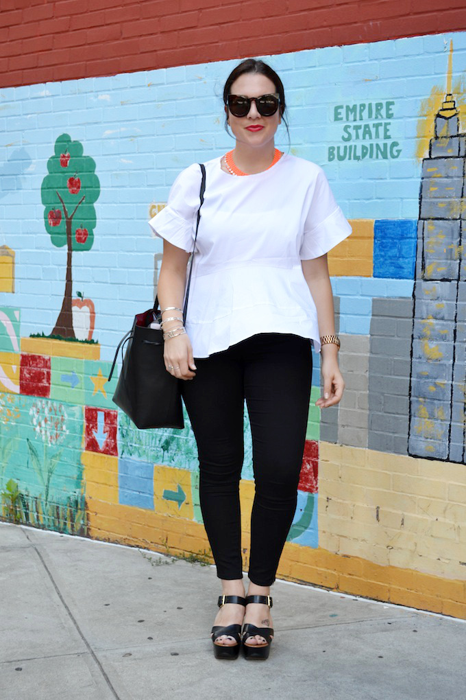 Zara oversized peplum, Plenty Big Blue jeans, Michael Kors sandals and Le Chateau sunglasses