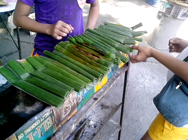 A pile of Tupig delicacy sold outside the Our Lady of Manaoag Church