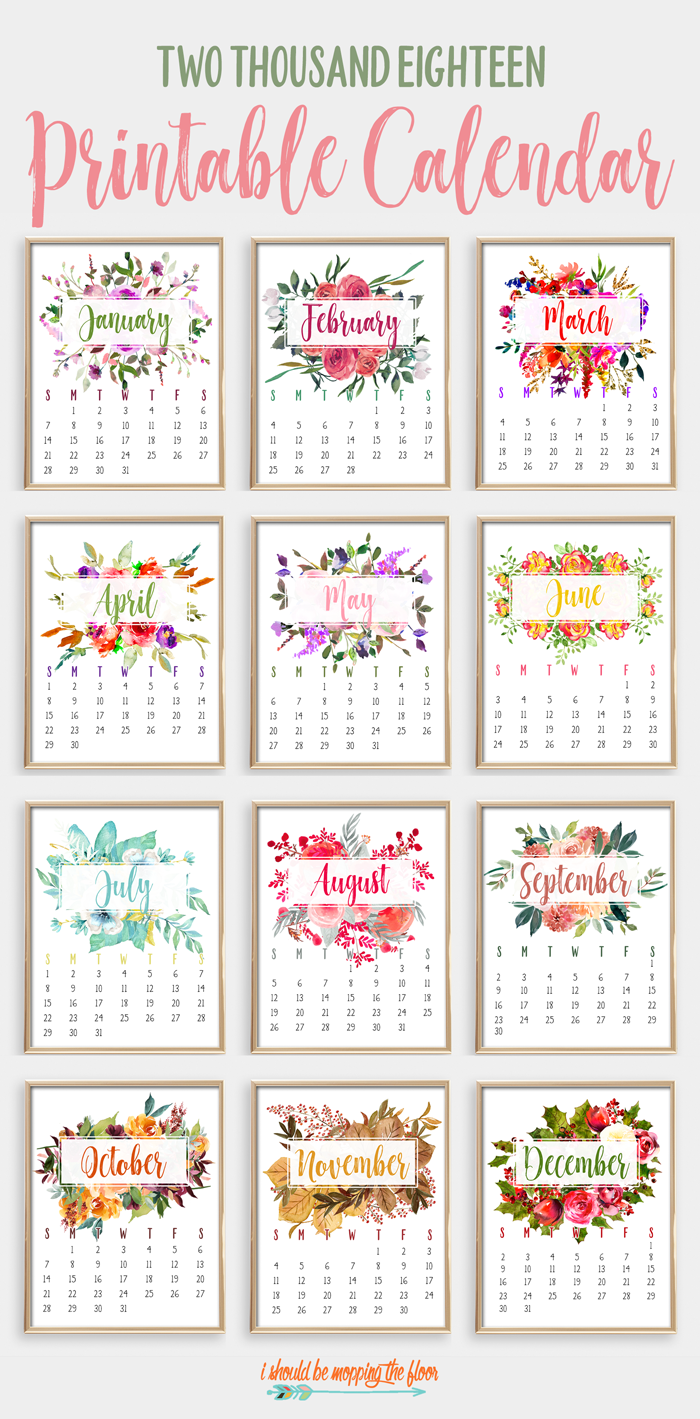 2018 Printable Watercolor Calendar | This beautiful 12-month calendar is the perfect accent to any decor. Instantly print and display. Each page fits an 8x10 frame.