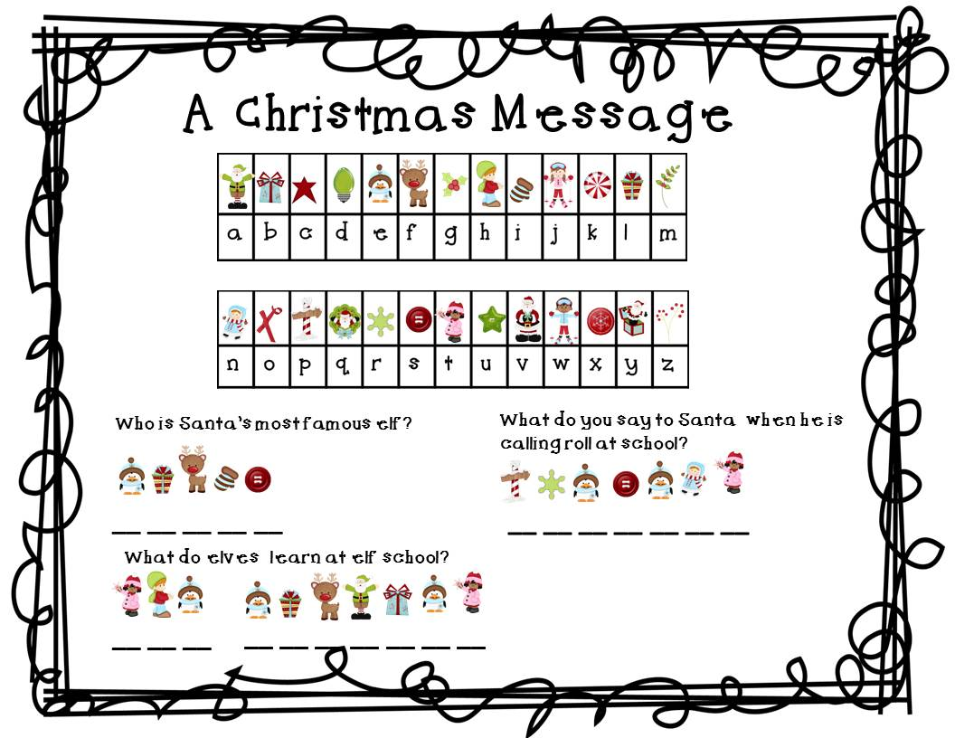 Christmas Code Worksheet