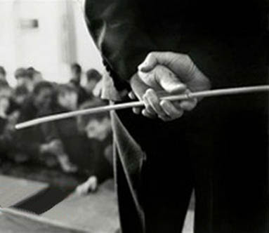 teacher with a cane