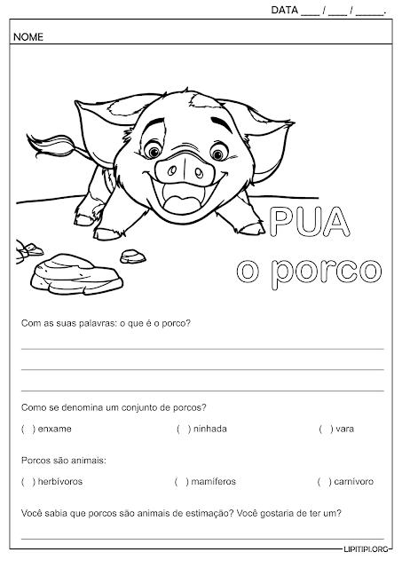 Atividade Pua Filme Moana Conhecendo os Porcos
