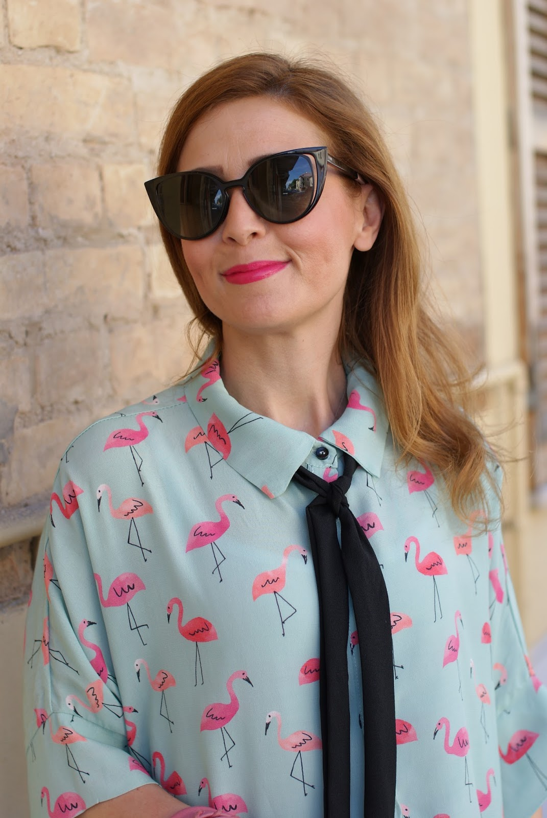 Flamingo print shirt and Fendi sunglasses via Giarre.com on Fashion and Cookies fashion blog, fashion blogger style