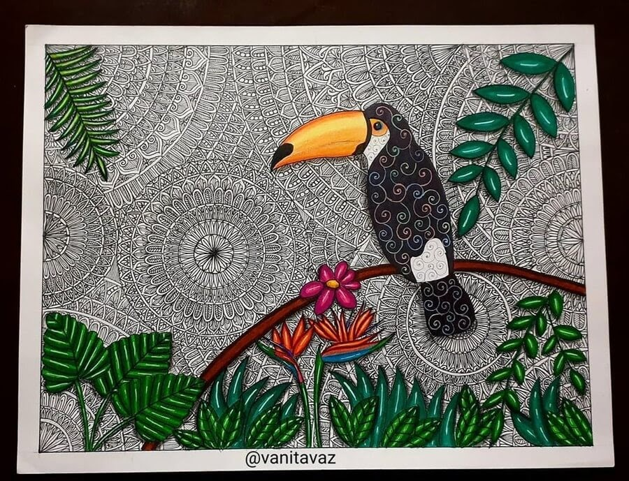 02-Toucan-and-Tropical-Flowers-Vanita-Vaz-Mandala-and-Doodle-www-designstack-co