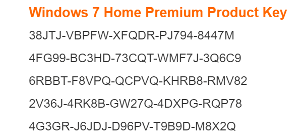 windows 7 home premium 64 bit license key