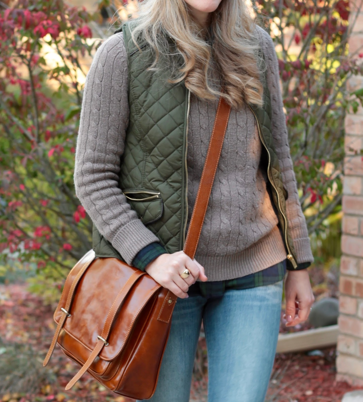 Old Navy plaid flannel, beige camel cable knit sweater, Express skinny jeans, olive quilted vest, fur pom pom beanie, crossbody cognac bag, green hunter boots