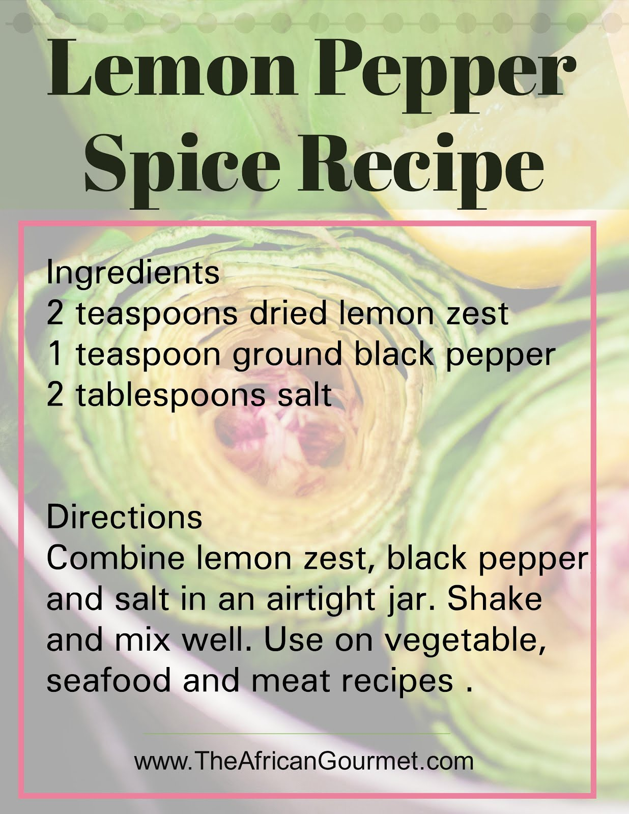 Easy spice recipe