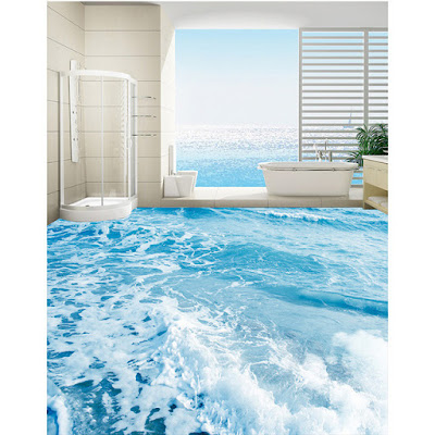 3D floor murals for bathrooms with waves of water all around and blue theme