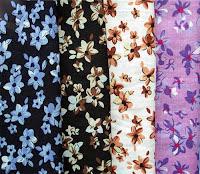 Çeşitli renklerde çiçek desenli markizet kumaşlar