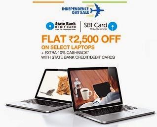 (Updated) Get Rs.2500 Extra off + Extra 10% Cash Back (For SBI Credit / Debit Card Holders) + Brand Offer on Select Models of Laptops @ Flipkart (112 Laptops to Choose)