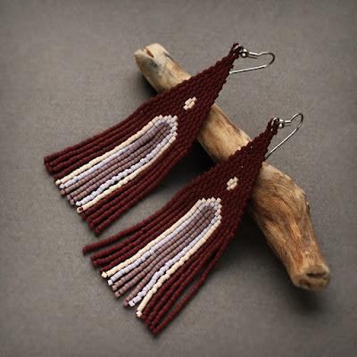 купить бордово коричневые серьги из бисера крупные этнические сережки цена