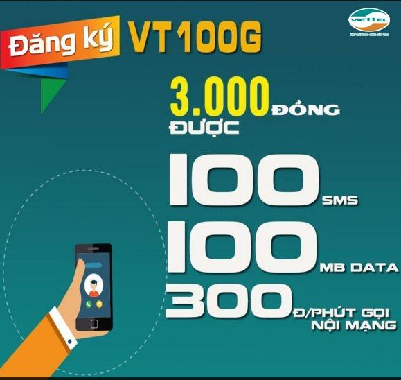 Đăng ký gói VT100G Viettel 3000đ miễn phí nhắn tin, 3G