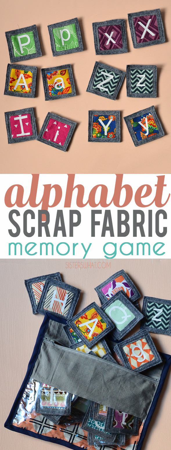 Make a fun abc fabric memory game using scraps fabric and heat transfer vinyl; perfect for your little kids to play.