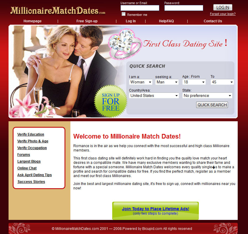 The best free dating site millionaire match