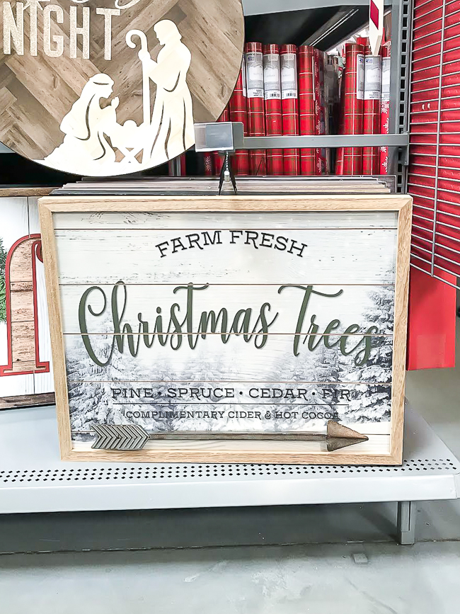Christmas tree farm sign from Walmart