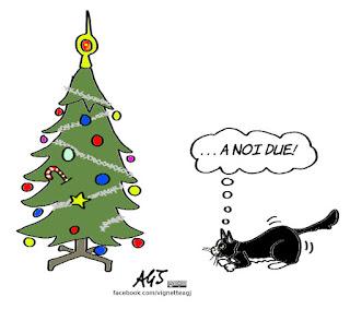 gatti, natale, albero di natale, umorismo, vignetta