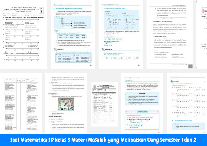 Soal Matematika SD kelas 3 Materi Masalah yang Melibatkan Uang Semester 1 dan 2  Operator Sekolah