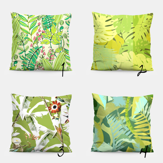 pillows combo in botanical patterns and greenery pantone color