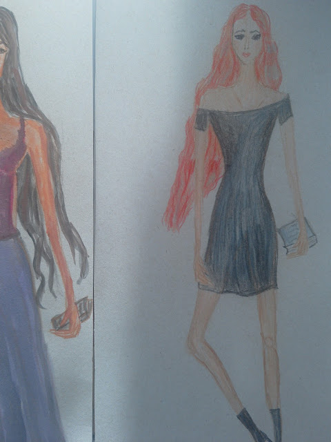 Drawings of the day (fashion illustrations) + an outfit post