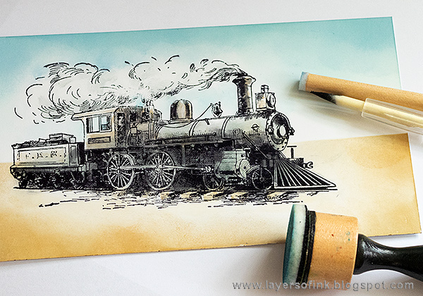Layers of ink - Scenic Train Card Tutorial by Anna-Karin Evaldsson with Tim Holtz stamps