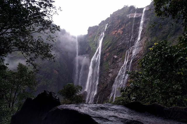 View of the Jog falls through the rocks