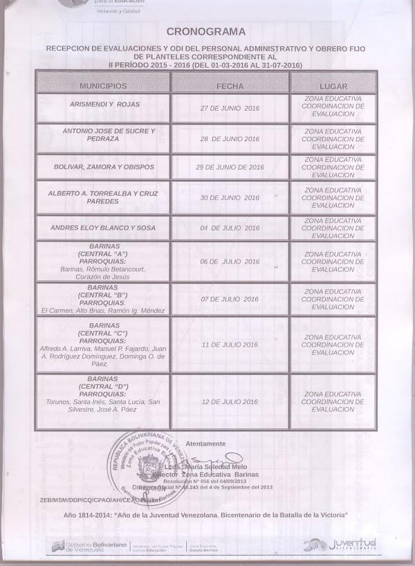 CRONOGRAMA EVALUACIONES OBREROS Y ADMINISTRATIVOS ESTADO BARINAS