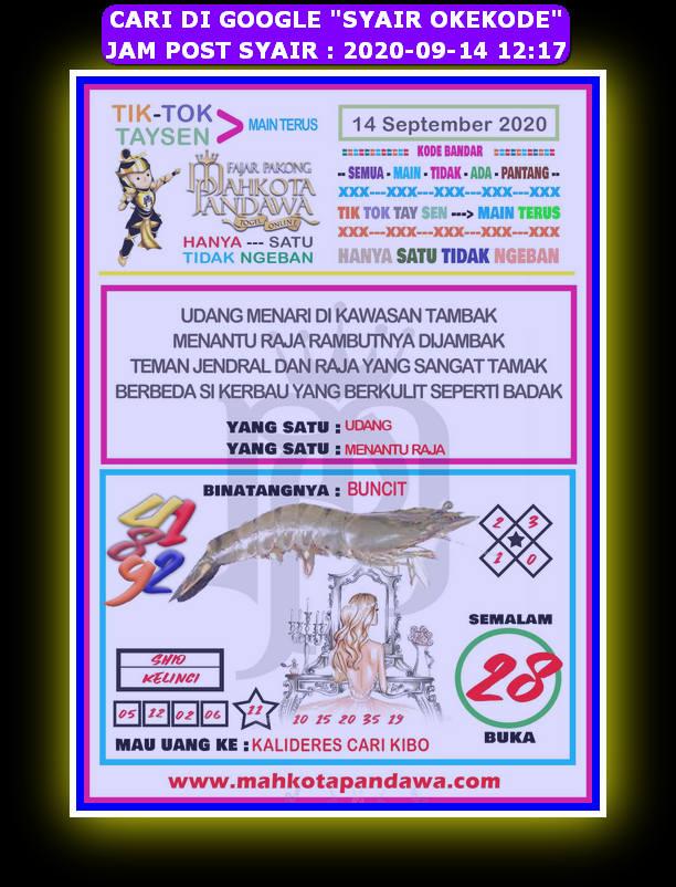 Kode syair Hongkong Senin 14 September 2020 128