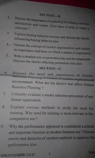 Marketing and Human Resource Management questions paper of m.com 2nd sem