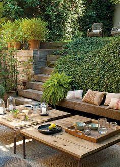 Design gradina, proiectare peisagistica gradina, curte in panta, lounge, zona de luat masa