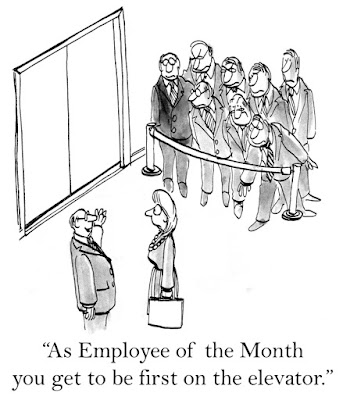 cartoon of the employee of the month getting to be the first on the elevator; other employees are disgruntled