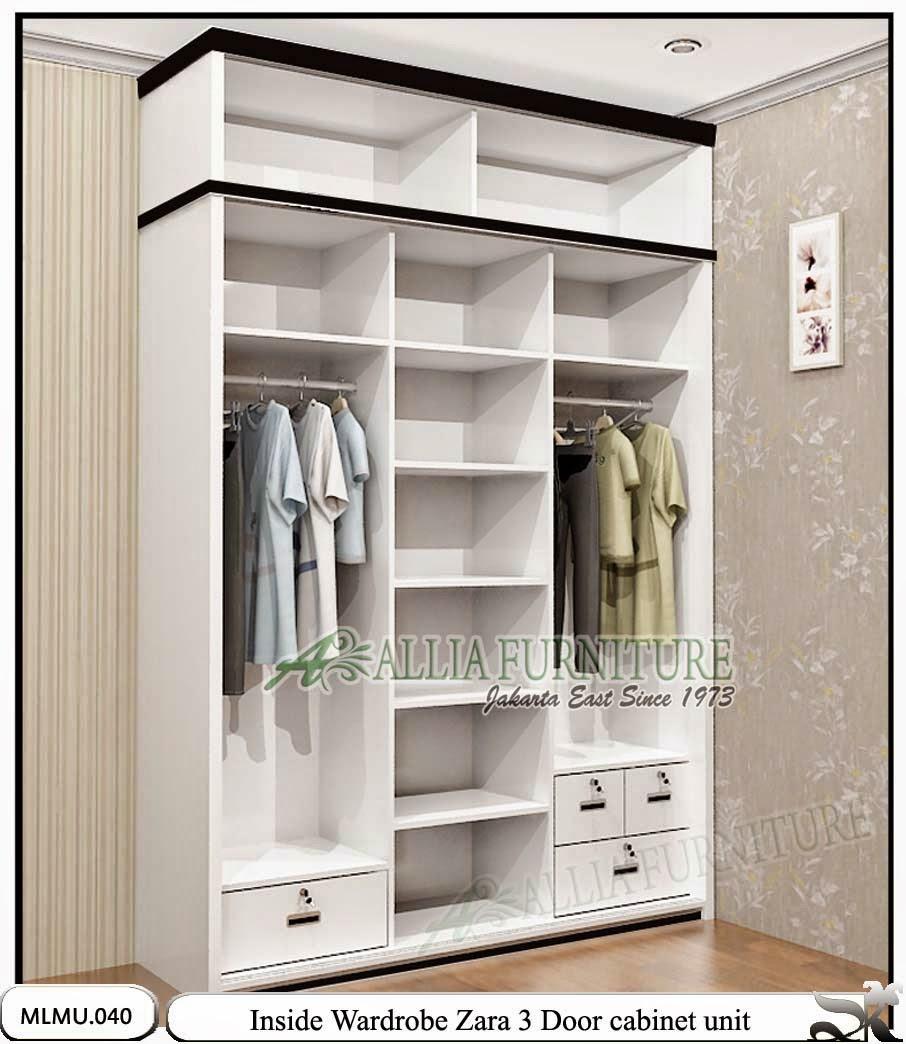 dalam lemari pakaian minimalis sliding unit zarra