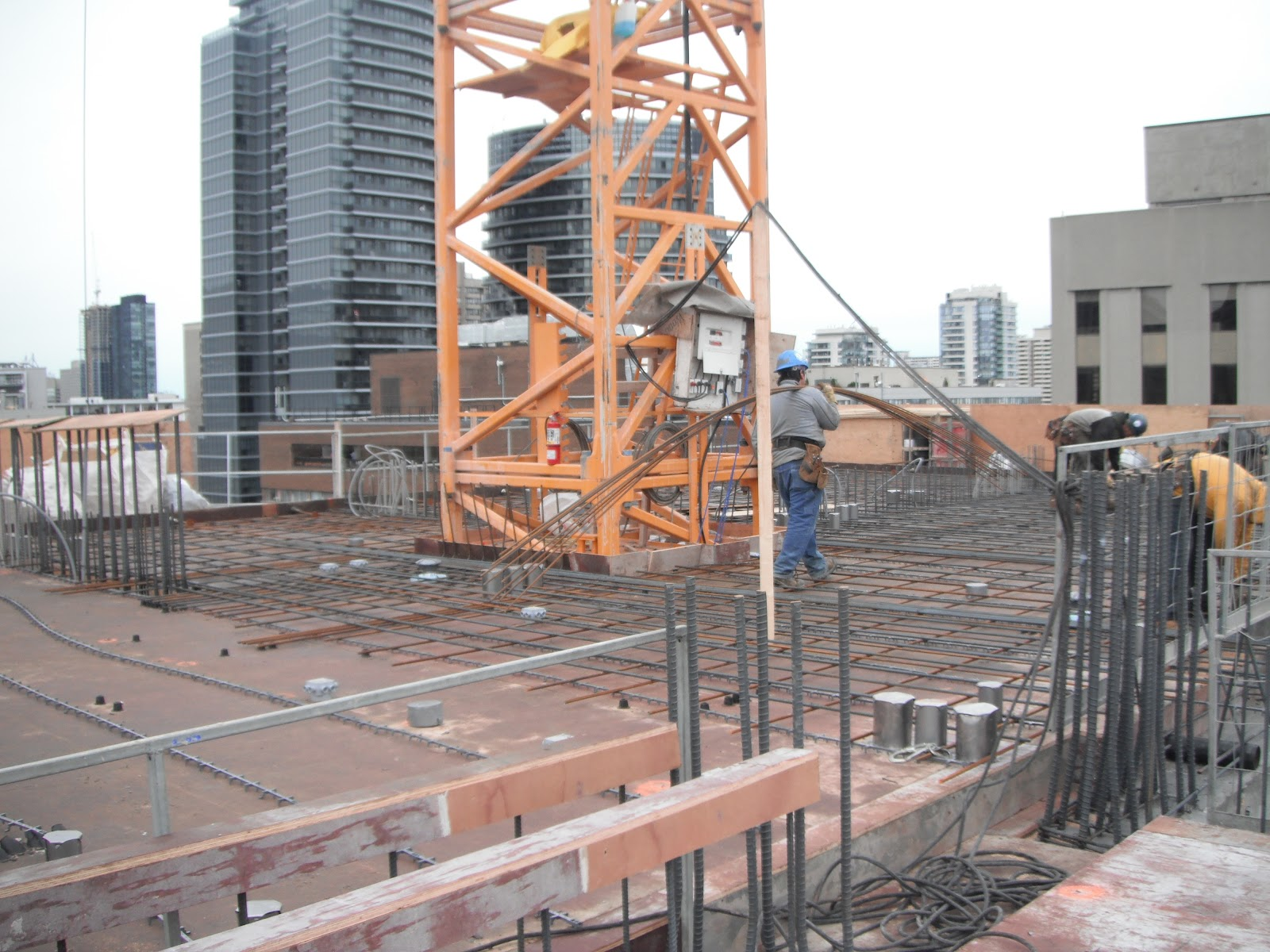 Getting Ready To Pour Concrete Slab On The 16th Floor.