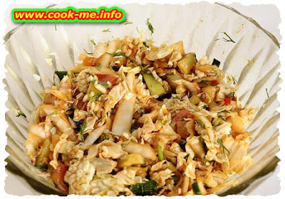 Mushroom salad with garlic sauce
