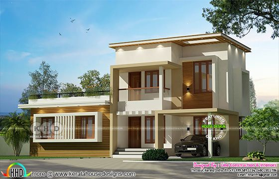 1477 square feet 3 bedroom Modern flat roof home plan
