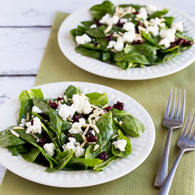 Thanksgiving Spinach Salad with Dried Cranberries, Almonds, and Goat Cheese [found on KalynsKitchen.com]