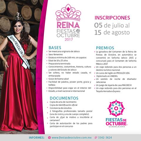 convocatoria Reina Fiestas de Octubre 2017