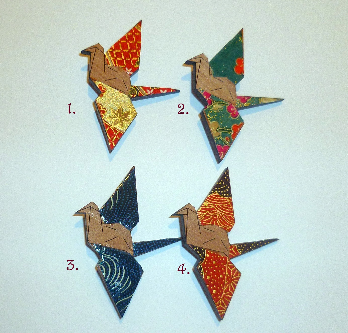Under The Shade Of A Bonsai Tree Japanese Origami Crane Brooches