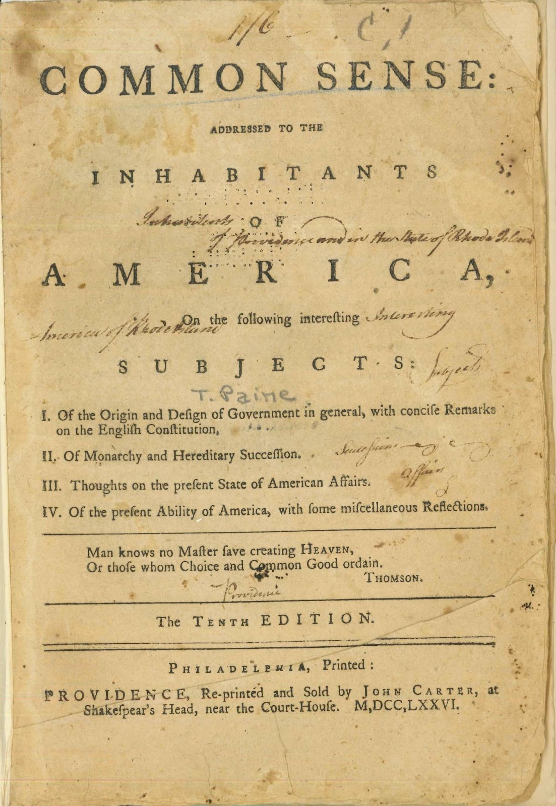 "A title page for Paine's ""Common Sense."""