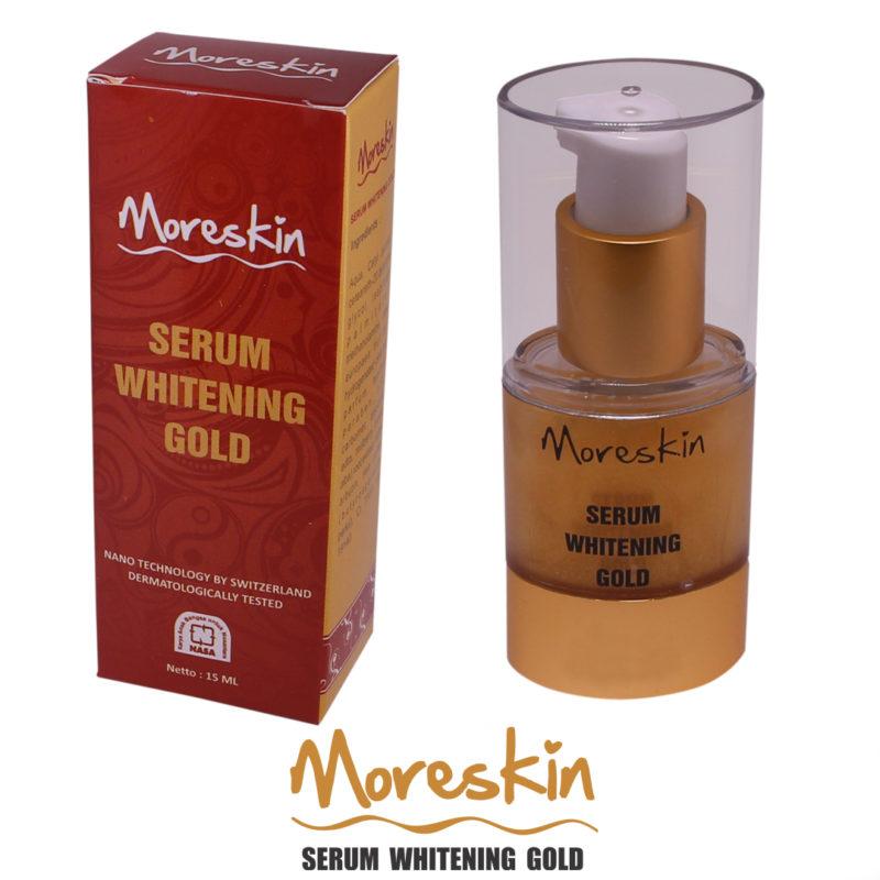 MORESKIN Serum Whitening Gold, merupakan salah satu produk kosmetik NASA terbaru dari keluarga MORESKIN. Serum Whitening ini hadir dengan teknologi Nano, siap memberikan solusi untuk anda yang ingin mendapatkan kulit cerah alami, halus, dan menyamarkan garis halus pada kulit anda.