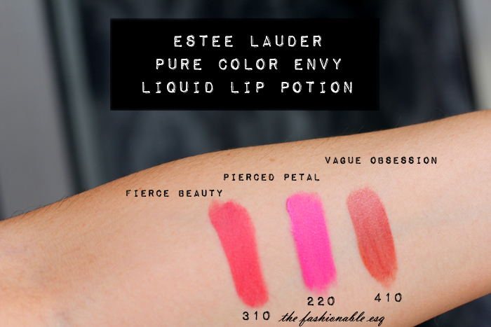 Estee Lauder Pure Color Envy Liquid Lip Potion swatches