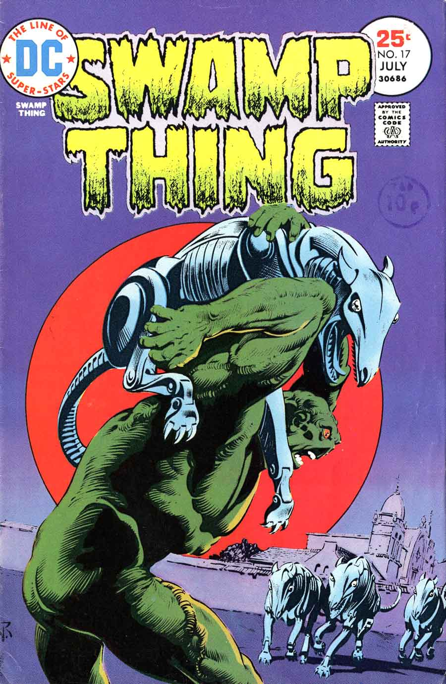 Swamp Thing v1 #17 1970s bronze age dc comic book cover art by Nestor Redondo