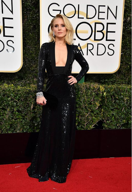 Kristen Bell's Plunging Black Sequined Dress At 2017 Golden Globes