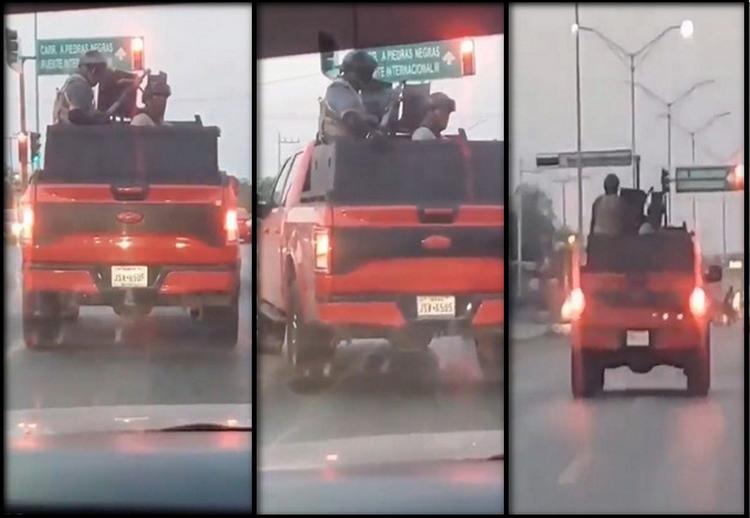 VIDEO, Sicarios empecherados y armados del CDN, se pavonean por las calles camuflados como marinos en Tamaulipas.
