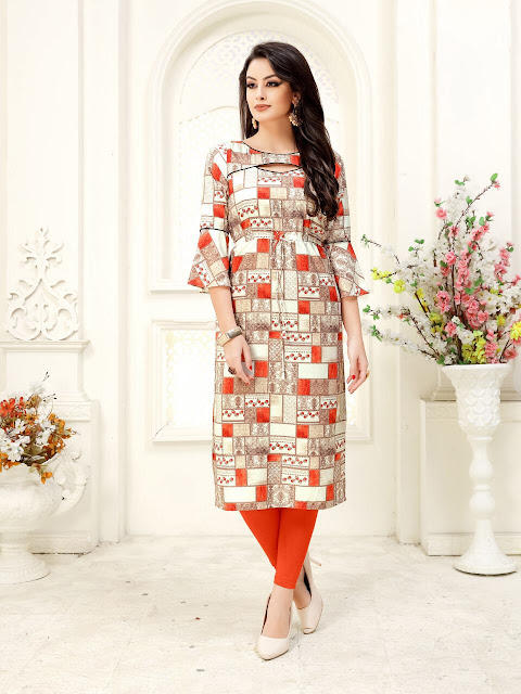 Sparkle printed Party wear long kurtis catalog