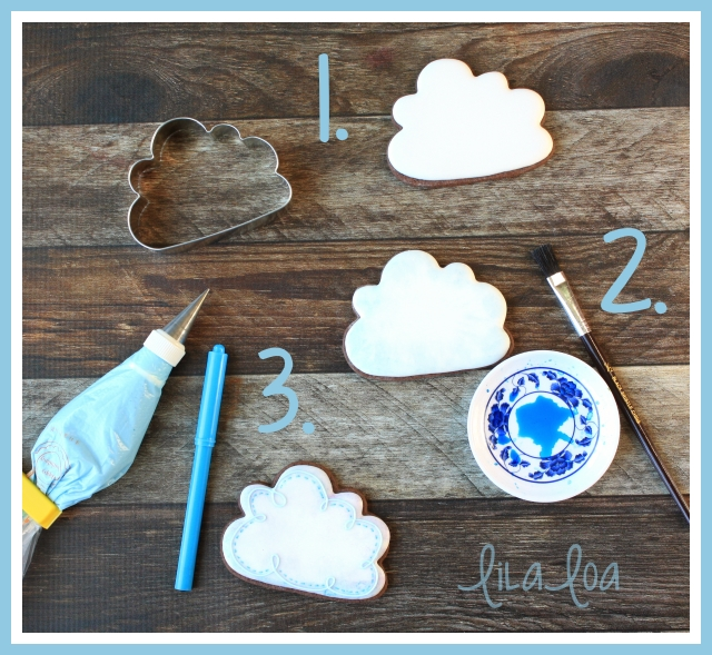 Cookie decorating tutorial -- simple cloud cookies