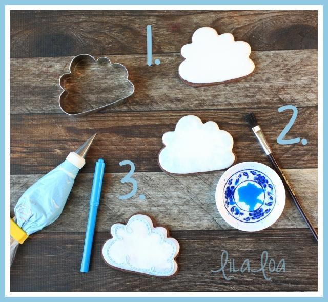 Cookie decorating tutorial -- simple cloud cookies