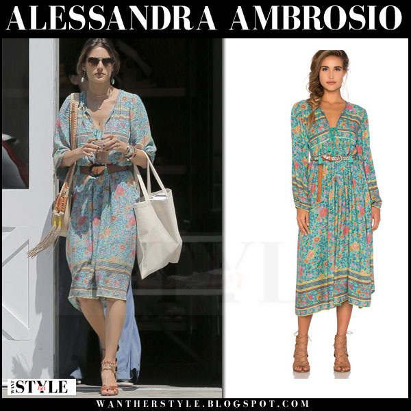 96ac7ea0fd Alessandra Ambrosio in green belted midi dress spell and the gypsy  collective what she wore boho